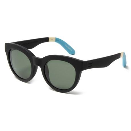 TOMS Traveler Sunglasses in Black Soft Coat/Green Grey