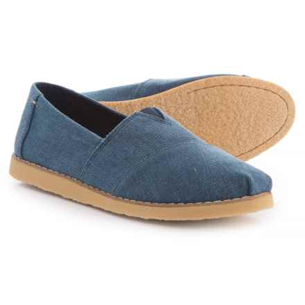 TOMS Washed Canvas Alpargata Crepe Shoes - Slip-Ons (For Women) in Navy - Closeouts