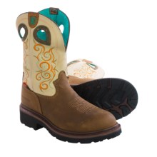 Tony Lama 3R Work Boots - Round Composite Toe (For Women) in Ivory/Tan - Closeouts