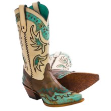 Tony Lama Cassidy Cowboy Boots - Snip Toe (For Women) in Espresso - Closeouts