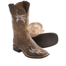 "Tony Lama Century Embroidered Cowboy Boots - 11"", Leather, Square Toe (For Women) in Suntan - Closeouts"