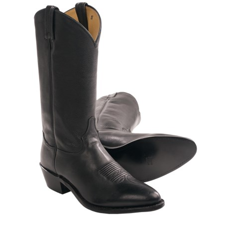 Tony Lama Cowhide Cowboy Boots - Plain Shaft, Round Toe (For Men) in Black Charmin