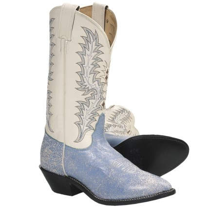 Tony Lama Denim Krackle Cowboy Boots - Leather (For Women) in Bone/Soft Ice