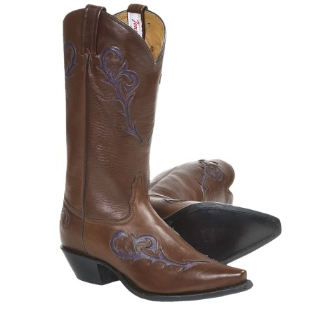 Tony Lama Italian Inlay Cowboy Boots - Leather (For Women) in Brown