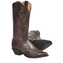 Tony Lama Italian Inlay Cowboy Boots - Leather (For Women) in Dark Brown - Closeouts