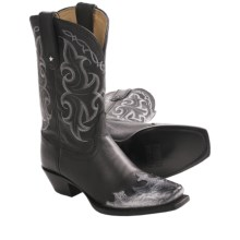 "Tony Lama Vail Leather Cowboy Boots - 11"", Snip Toe (For Women) in Black - Closeouts"