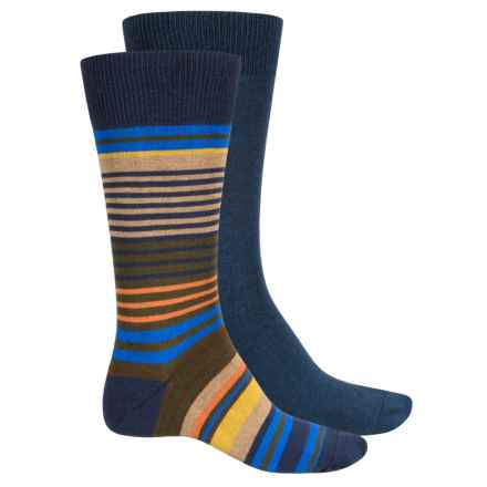 Top Flite Stripe and Solid Socks - 2-Pack, Crew (For Men) in Navy - Closeouts