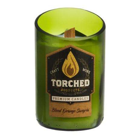 Torched Blood Orange Sangria Wine Bottle Soy Candle - 12 oz. in Green