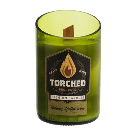 Torched Holiday Mulled Wine Bottle Soy Candle - 12 oz. in Green