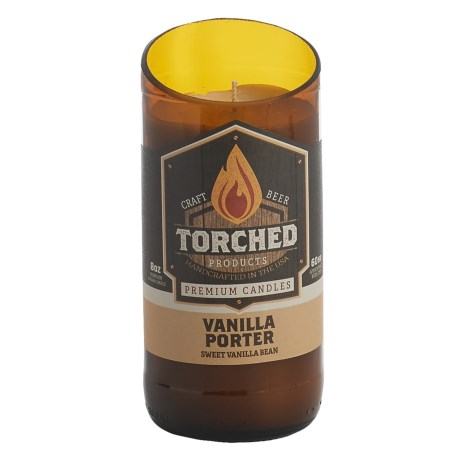 Torched Vanilla Porter Beer Bottle Soy Candle - 8 oz. in See Photo