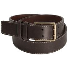 Torino Double-Prong Leather Belt (For Men) in Brown - Closeouts