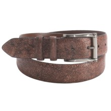 Torino Wood Grain Embossed Belt - 35mm, Calf Leather (For Men) in Brandy - Closeouts