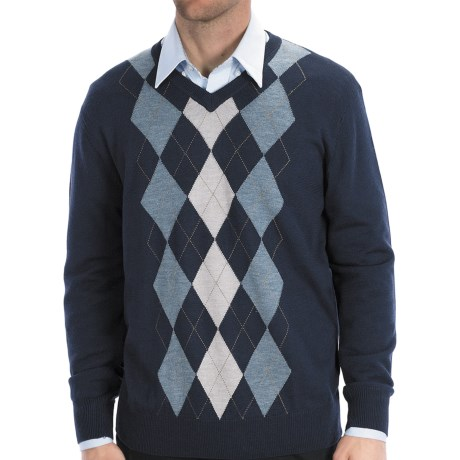 Toscano Argyle Sweater - Merino Wool-Acrylic, V-Neck (For Men) in 937 Midnight