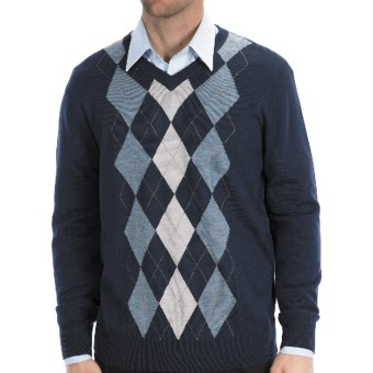Toscano Argyle Sweater - Merino Wool-Acrylic, V-Neck in 937 Midnight
