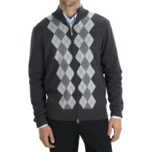 Toscano Argyle Zip Sweater - Merino Wool-Acrylic - (For Men) in Charcoal - Closeouts