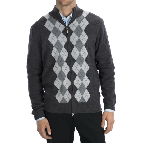 Toscano Argyle Zip Sweater - Merino Wool-Acrylic - (For Men) in Charcoal