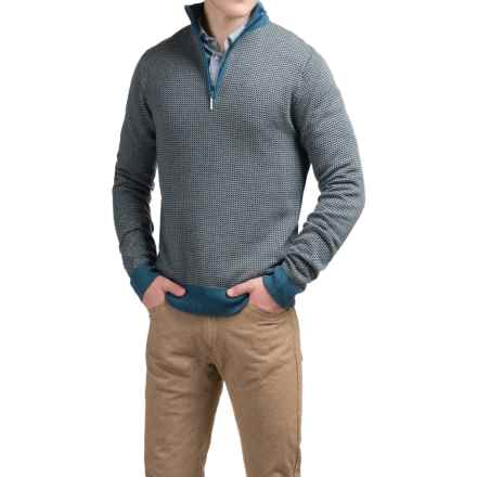 Toscano Birdseye Mock Sweater - Merino Wool, Zip Neck (For Men) in Ink Blue Melange - Closeouts