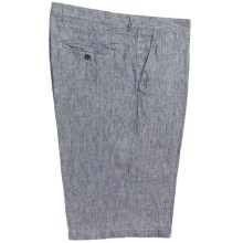 Toscano Brushed Stripe Dress Shorts - Linen (For Men) in Charcoal - Closeouts