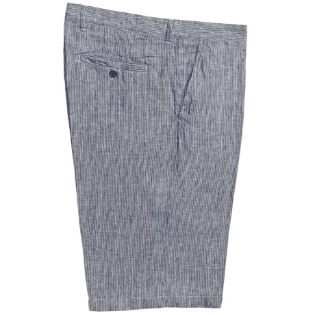 Toscano Brushed Stripe Dress Shorts - Linen (For Men) in Charcoal