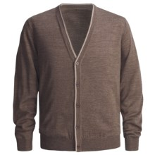 Toscano Cardigan Sweater - Two-Color Tipping, Merino Wool (For Men) in Brown Melange - Closeouts