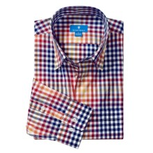 Toscano Cotton Check Sport Shirt -  Hidden Button-Down Collar, Long Sleeve (For Men) in Firebrick - Closeouts