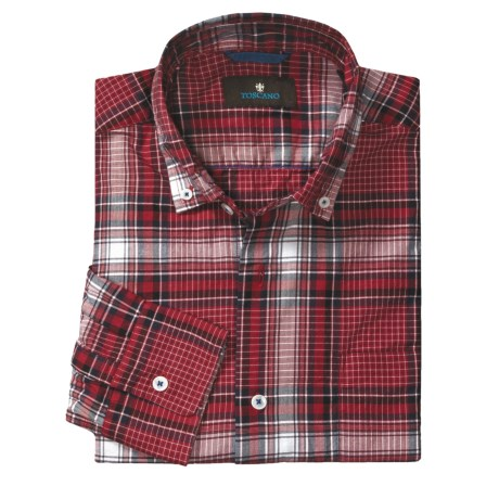 Toscano Cotton Plaid Sport Shirt - Button-Down Collar, Long Sleeve (For Men) in Fire
