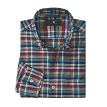 Toscano Cotton Plaid Sport Shirt - Button-Down Collar, Long Sleeve (For Men) in Ink - Closeouts