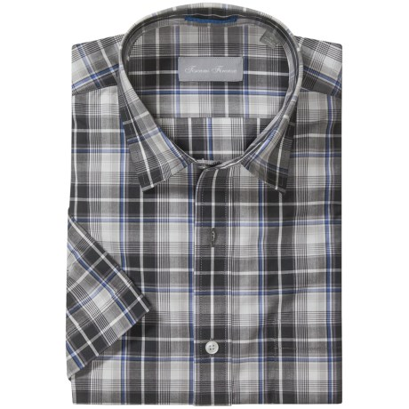 Toscano Cotton Sport Shirt - Short Sleeve (For Men) in Charcoal