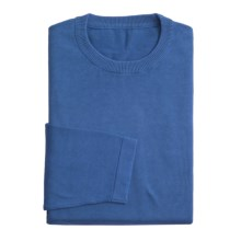 Toscano Crew Neck Sweater - Acid-Washed Cotton (For Men) in Mid Blue - Closeouts