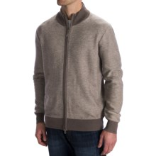 Toscano Diagonal-Weave Cardigan Sweater - Merino Wool, Zip Front (For Men) in Cobblestone/Sumatra - Closeouts