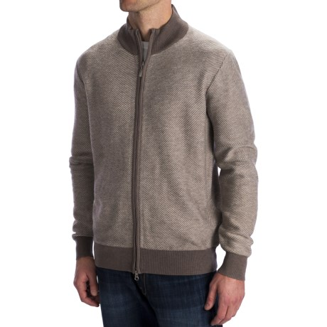 Toscano Diagonal-Weave Cardigan Sweater - Merino Wool, Zip Front (For Men) in Cobblestone/Sumatra