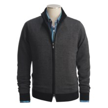 Toscano Diagonal Weave Sweater - Merino Wool-Blend, Full Zip (For Men) in Black/Charcoal - Closeouts