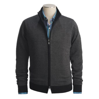 Toscano Diagonal Weave Sweater - Merino Wool-Blend, Full Zip (For Men) in Black/Charcoal