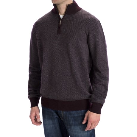 Toscano Diagonal-Weave Sweater - Merino Wool, Zip Neck (For Men) in Brown