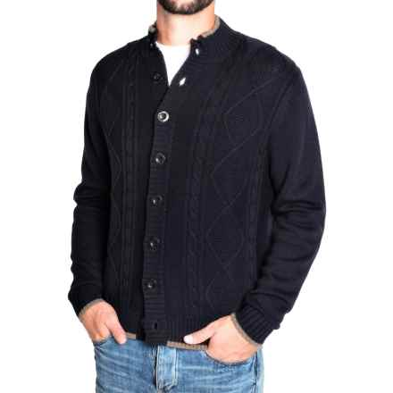 Toscano Diamond Cable Cardigan Sweater - Merino Wool (For Men) in Dark Midnight - Closeouts