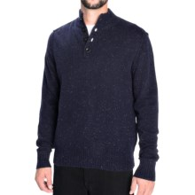 Toscano Flecked Mock Neck Pullover Sweater - Lambswool Blend (For Men) in Blue Nights - Closeouts