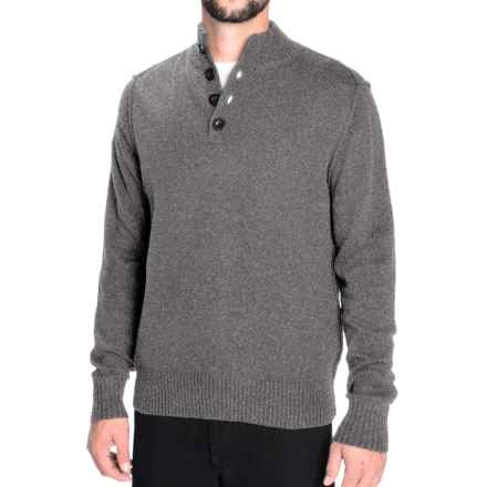 Toscano Flecked Mock Neck Pullover Sweater - Lambswool Blend (For Men) in Smoked Pearl - Closeouts