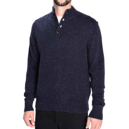 Toscano Flecked Mock Neck Sweater - Lambswool Blend (For Men) in Blue Nights - Closeouts