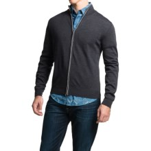 Toscano Full-Zip Cardigan Sweater - Merino Wool (For Men) in Shadow Melange - Closeouts