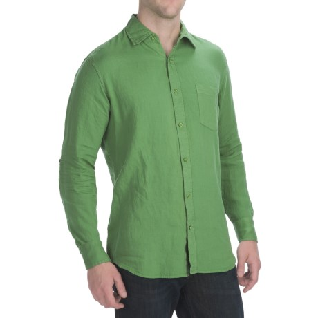Toscano Garment-Washed Linen Shirt - Long Sleeve (For Men) in Green