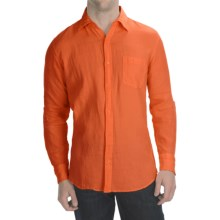 Toscano Garment-Washed Linen Shirt - Long Sleeve (For Men) in Orange - Closeouts