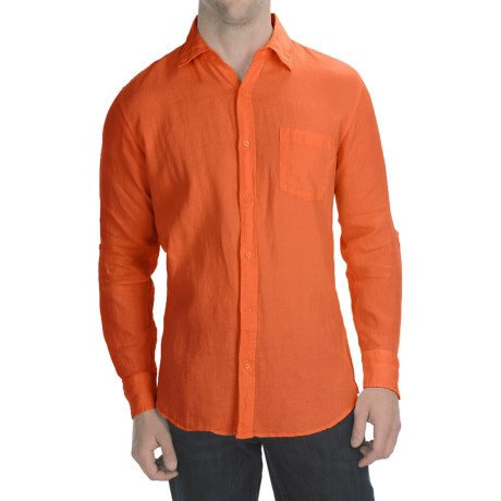 Toscano Garment-Washed Linen Shirt - Long Sleeve (For Men) in Orange