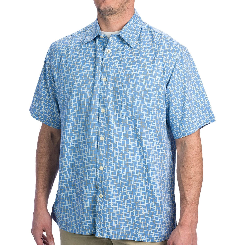 Toscano line print shirt silk blend short sleeve for for Silk short sleeve shirt