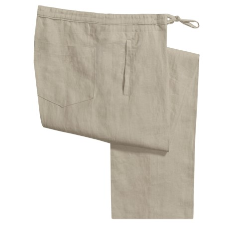 Toscano Linen Drawstring Pants (For Men) in Oyster