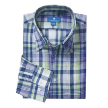 Toscano Linen Plaid Shirt - Long Sleeve (For Men) in Purple/Navy/Green - Closeouts