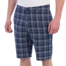 Toscano Linen Plaid Shorts (For Men) in Navy - Closeouts
