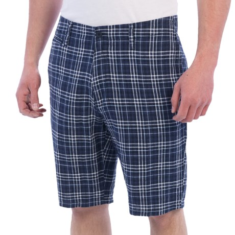 Toscano Linen Plaid Shorts (For Men) in Navy