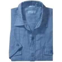 Toscano Linen Shirt with Flap Pockets - Short Sleeve (For Men) in Harbor - Closeouts