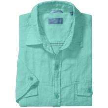 Toscano Linen Shirt with Flap Pockets - Short Sleeve (For Men) in Pool - Closeouts