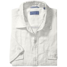 Toscano Linen Shirt with Flap Pockets - Short Sleeve (For Men) in White - Closeouts